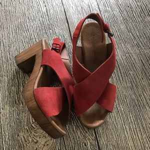 Eric Michael Red Wedge Sandals